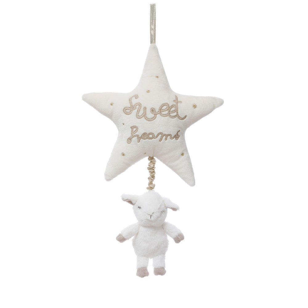 "Plush Lamb Musical Pull Toy with Emb. ""Sweet Dreams"", White & Gold Color"