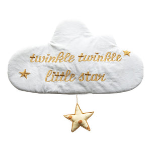 "Cloud Wall Hanging with Star & Emb., Lt Blue & Gold ""Twinkle Twinkle Little Star"""