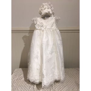 Christening Gown w/Bonnet, silk/lace, girls