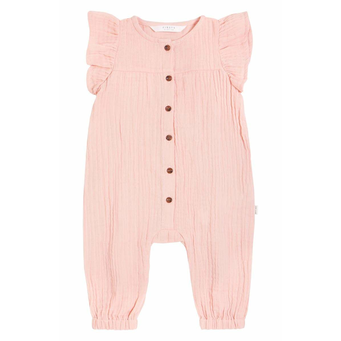 Girls' Flutter Sleeve Coverall - Baby - Light Pink