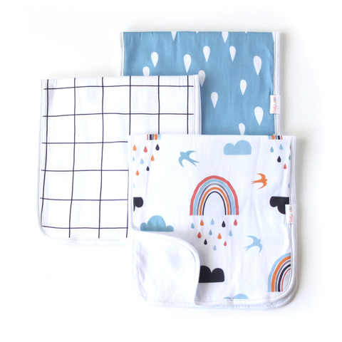 Baby Burp Cloth Set - Rain