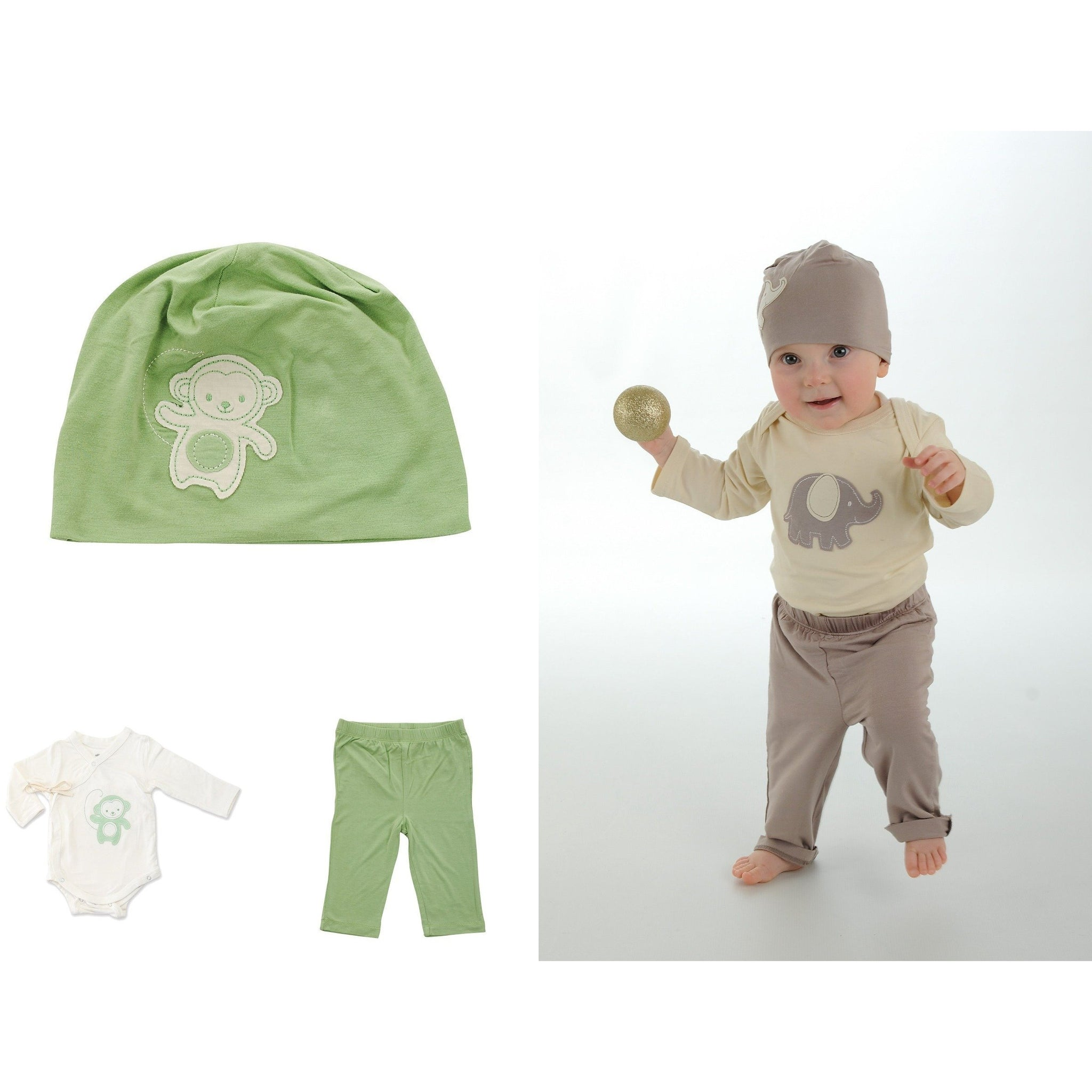 Bamboo Long Sleeve Onesie Pant and Beanie Set