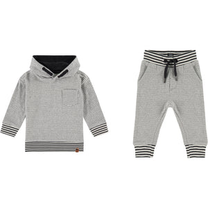 Grey Stripe Hooded Sweatsuit