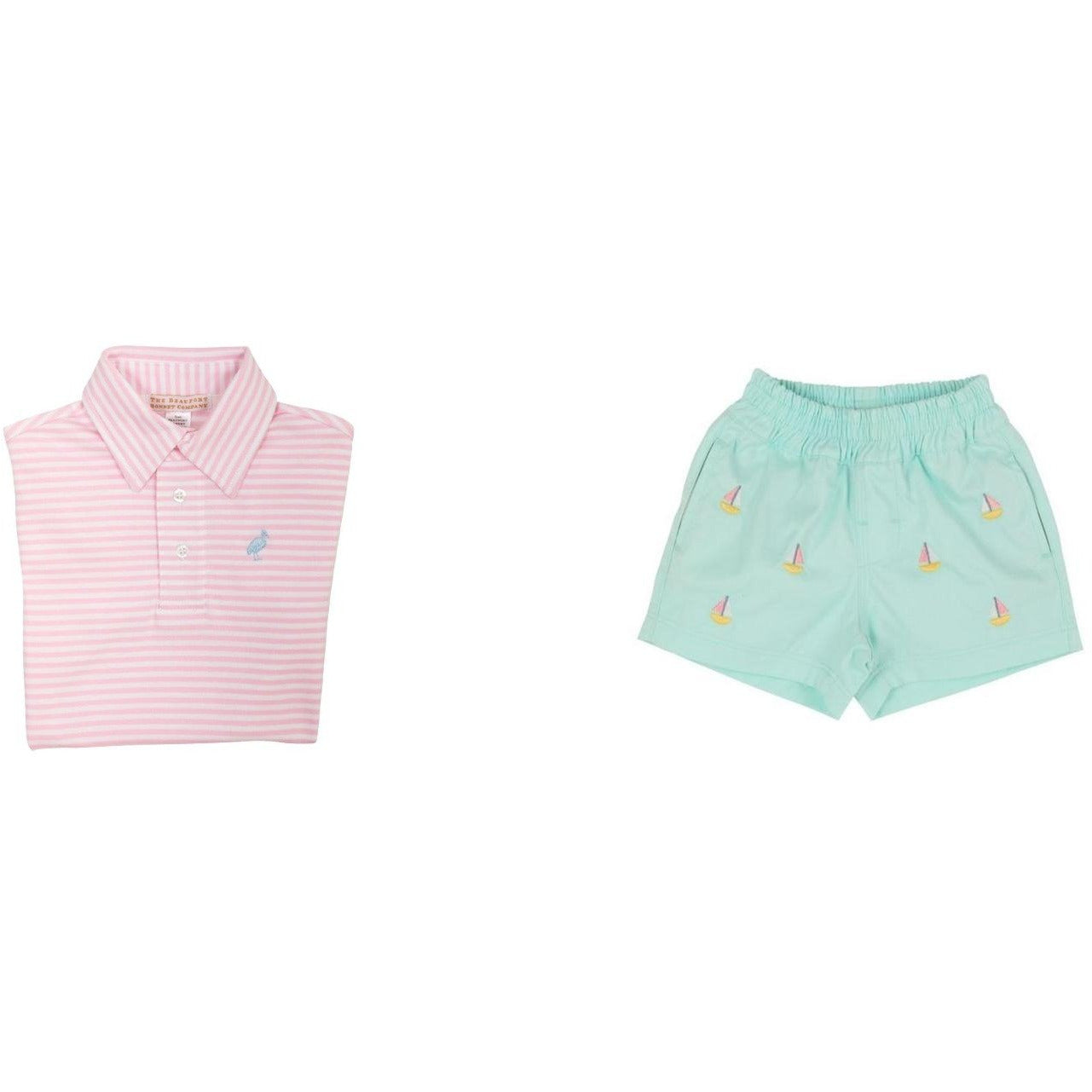 Critter Sheffield Shorts Sea Island Seafoam with Sailboat Embroidery & SS Pink Stripe  Polo
