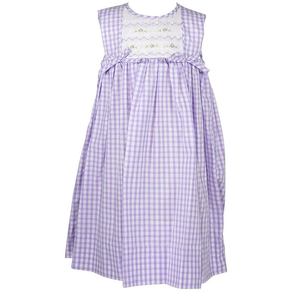 Sleeveless Smocked Dress, purple gingham
