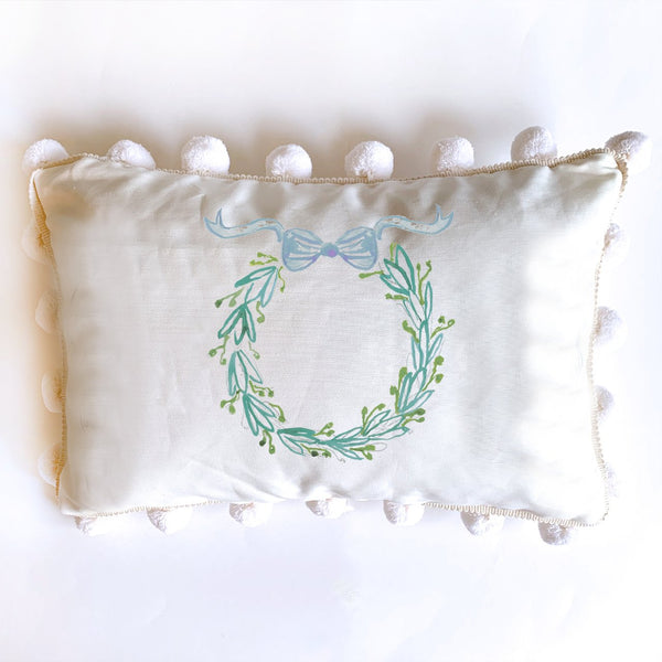 Lumber Pillow Wreath with Bow 12x18