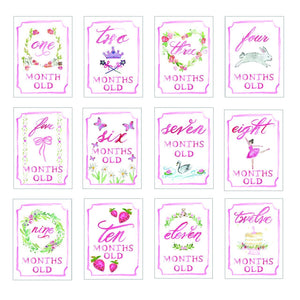 Month by Month baby cards Pink or Blue