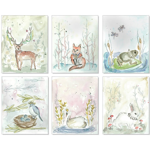Whimsical Animals Nursery Prints - Set of 6
