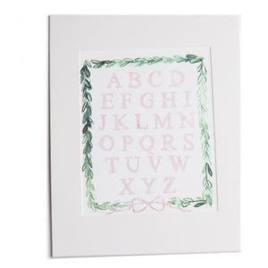 ABC'S Print Matted Pink 11x14