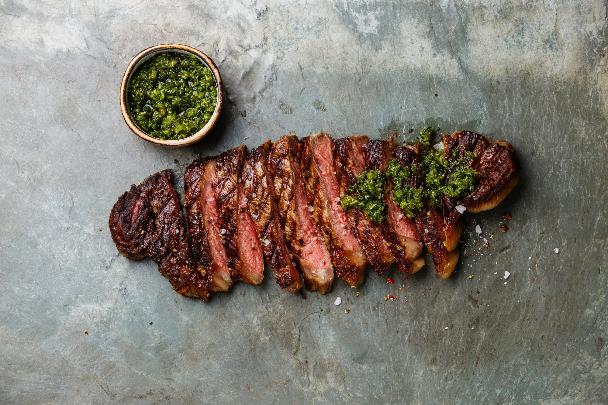 Homemade Chimichurri with Flat Iron Steak