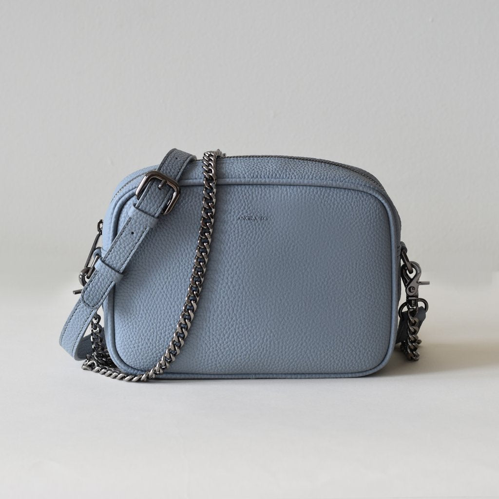Grace Mini Cross-body in Light Nude Blue front view with straps
