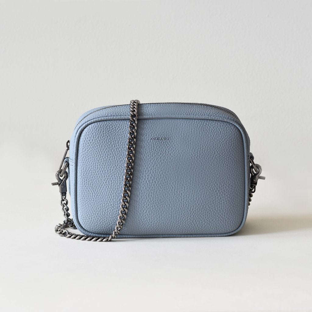 Grace Mini Cross-body in Light Nude Blue front view