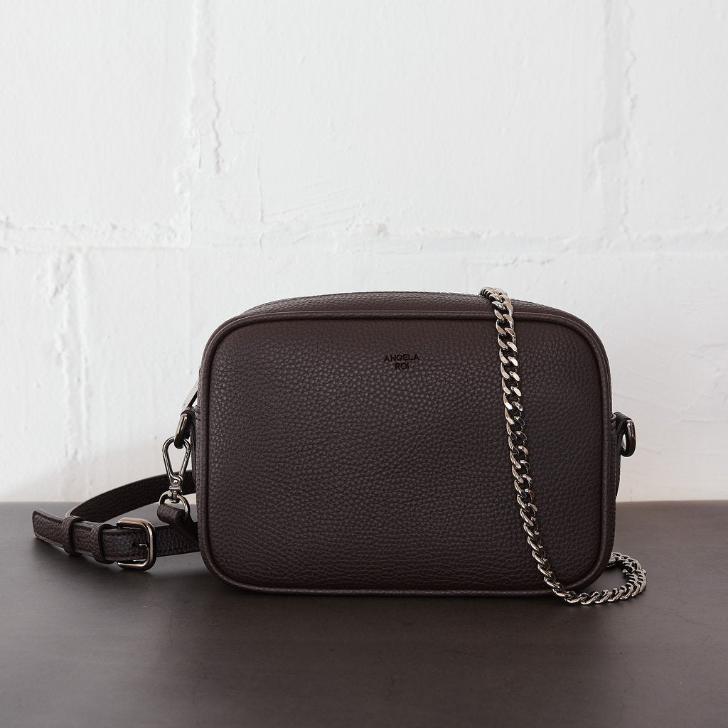 Grace Mini Crossbody with Signet in Dark Brown