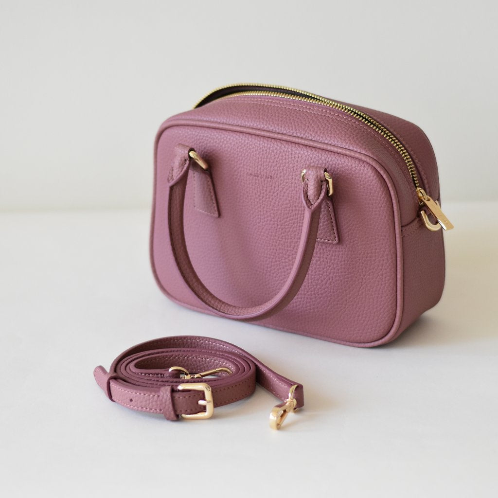 Angela Roi Vegan Barton Mini in Nude Pink, with strap