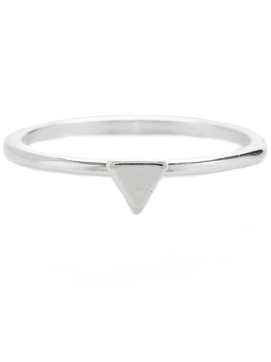 Triangle midi ring, Silver Plated brass ring, triangle in middle