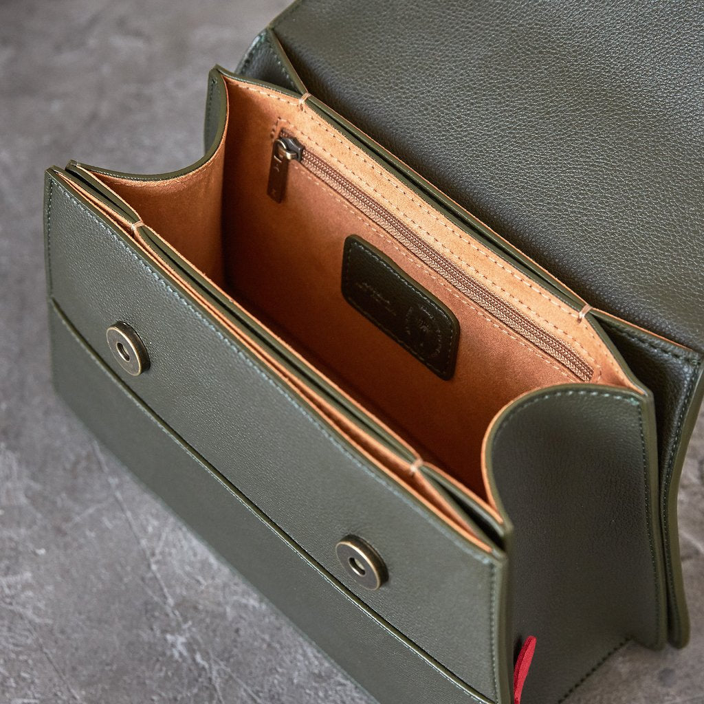 Hamilton Satchel with Signet in Dark Green