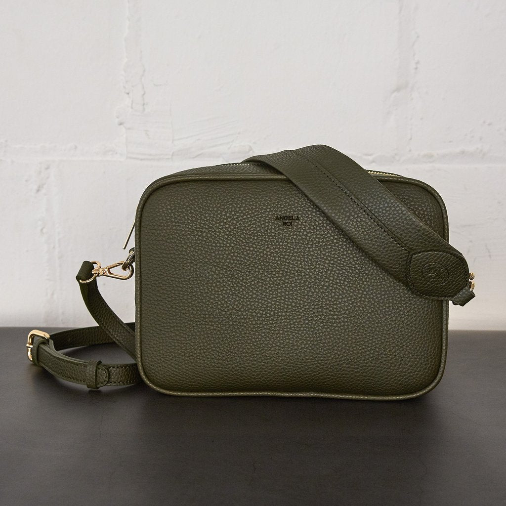 Grace Crossbody with Signet in Deep Olive