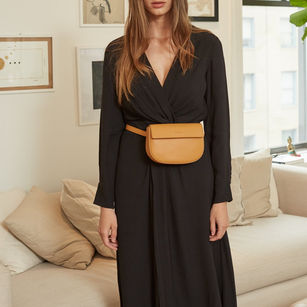Hamilton Belt Bag / Cross-body in Mustard on model