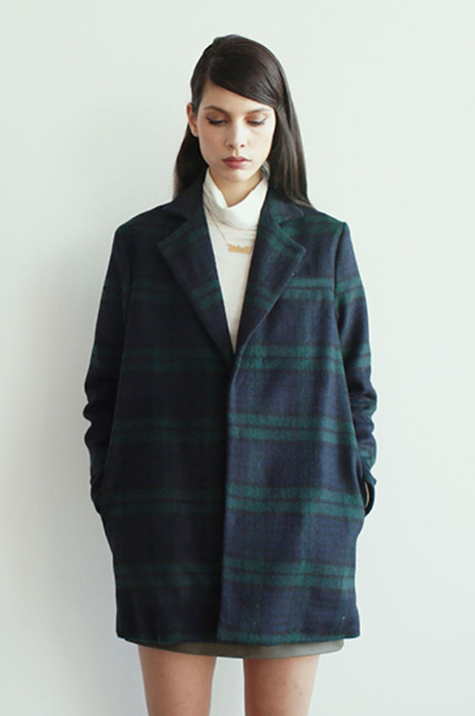 Delores Haze eco-friendly Andie Peacoat, on model