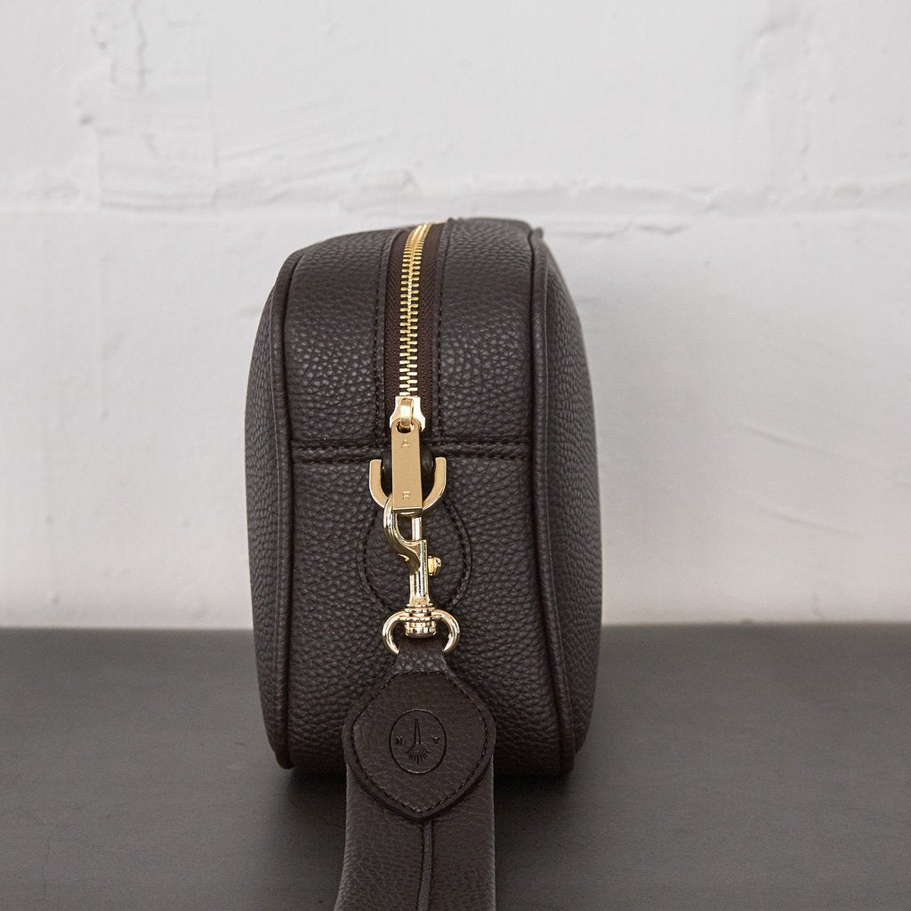 Grace Crossbody with Signet in Dark Brown