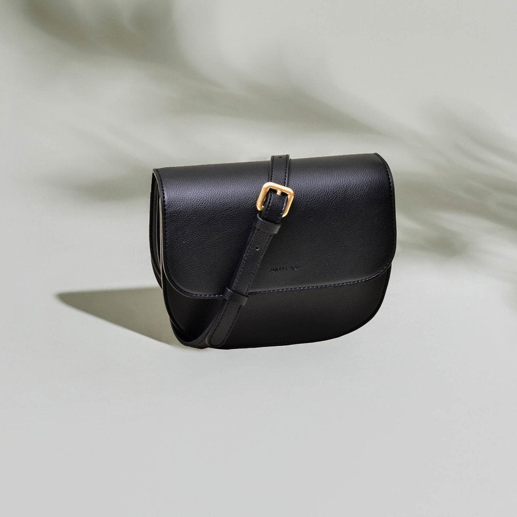 Angela Roi Vegan Hamilton Round Cross-body in Black, front view