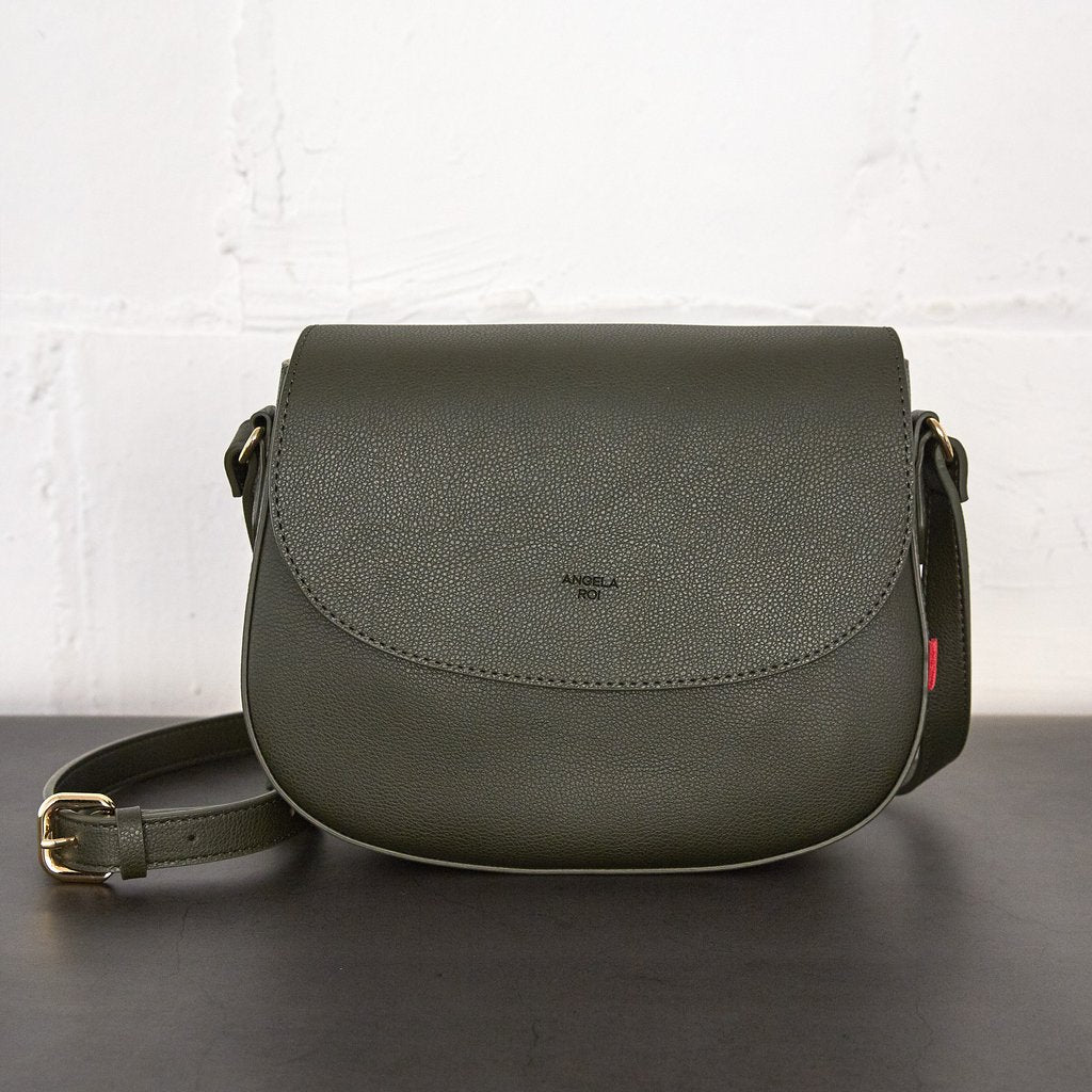 Florence Saddle Cross-Body with Signet in Dark Green