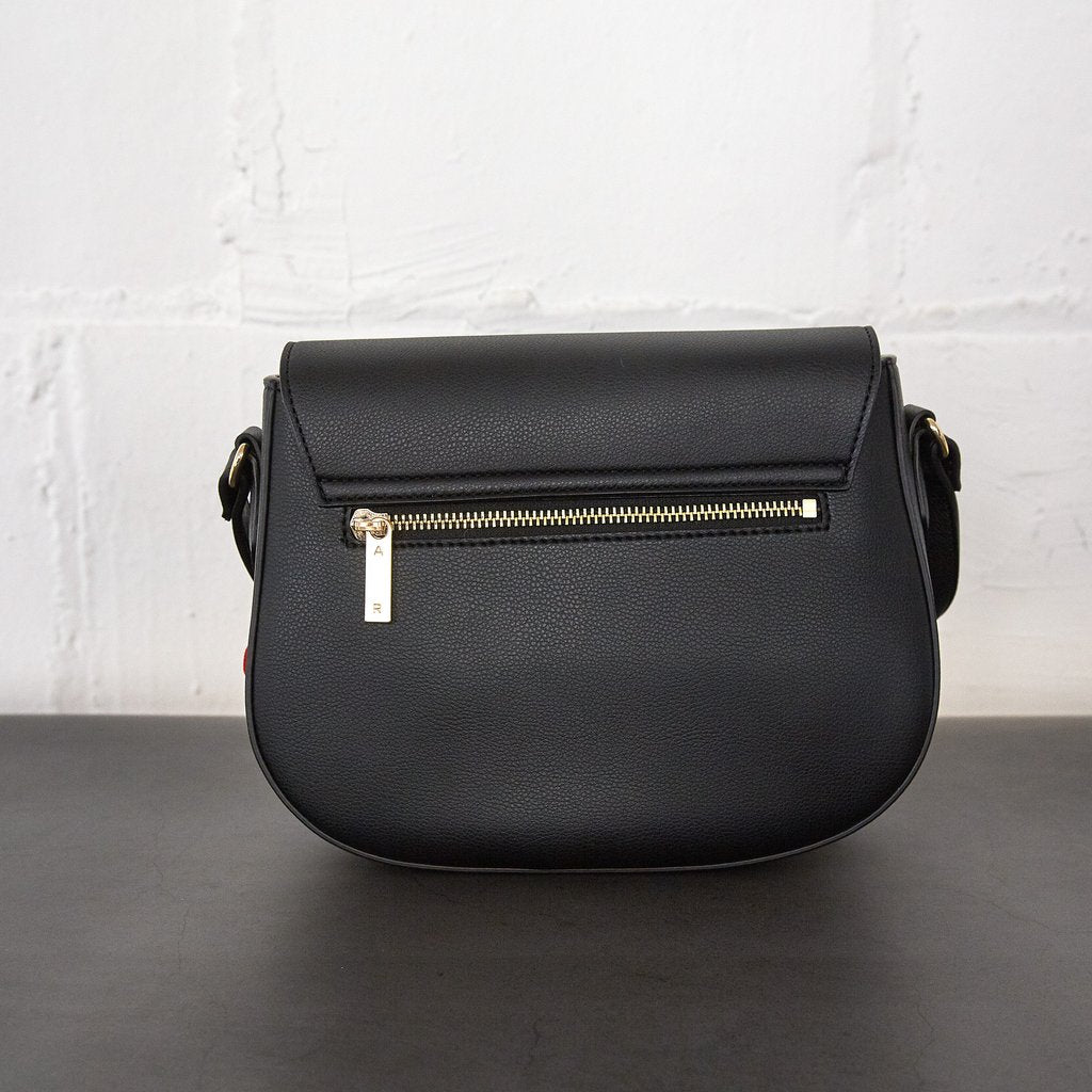Florence Saddle Cross-Body with Signet in Black