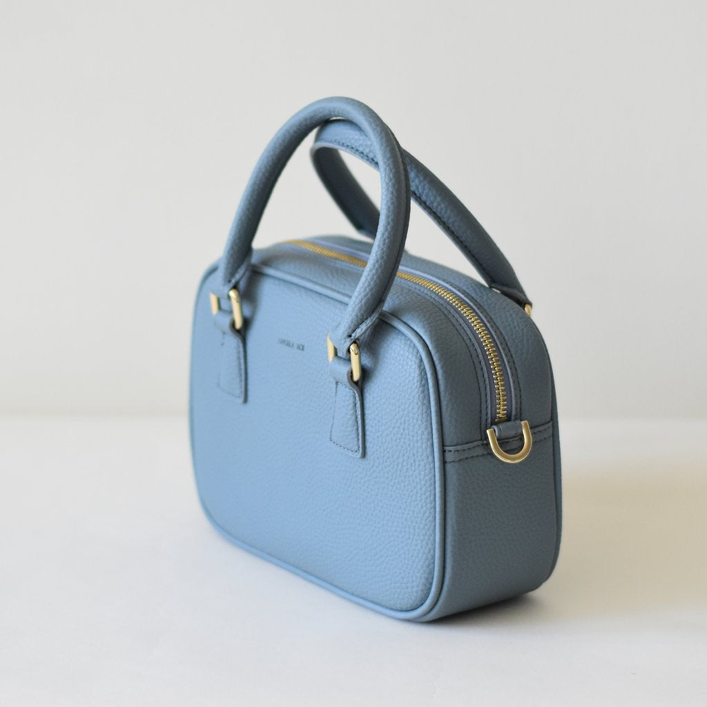 Angela Roi Vegan Barton Mini in Nude Blue, 3/4 view