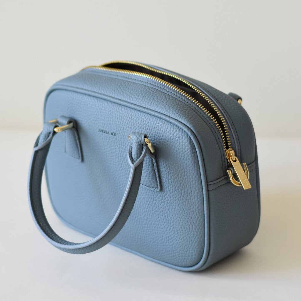 Angela Roi Vegan Barton Mini in Nude Blue, top view open