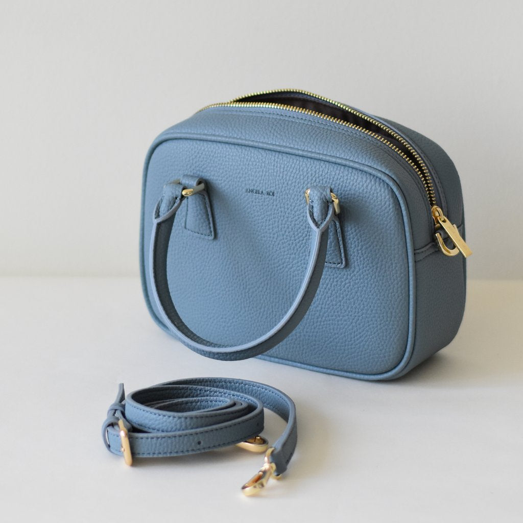 Angela Roi Vegan Barton Mini in Nude Blue, top view with strap