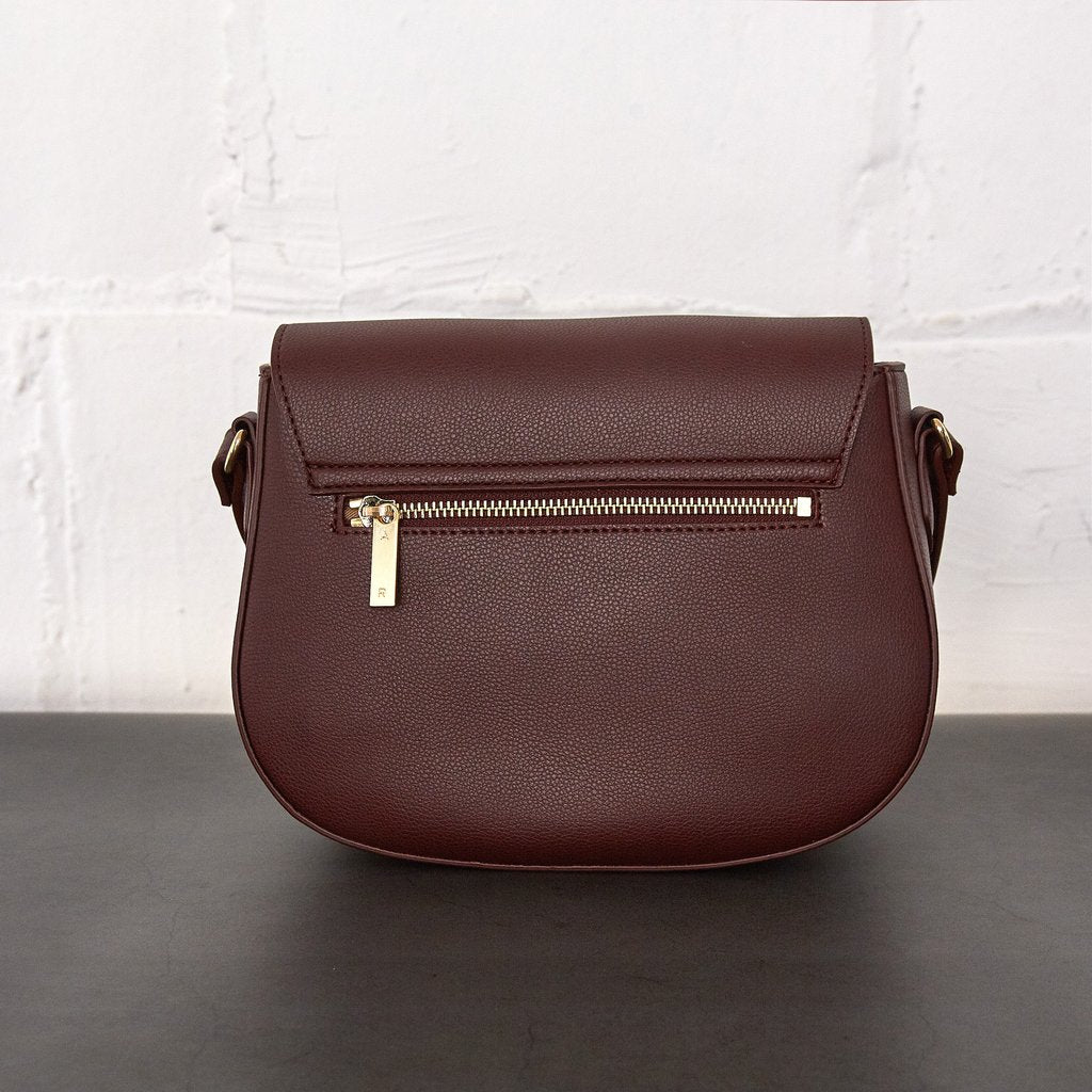 Florence Saddle Cross-Body with Signet in Bordeaux