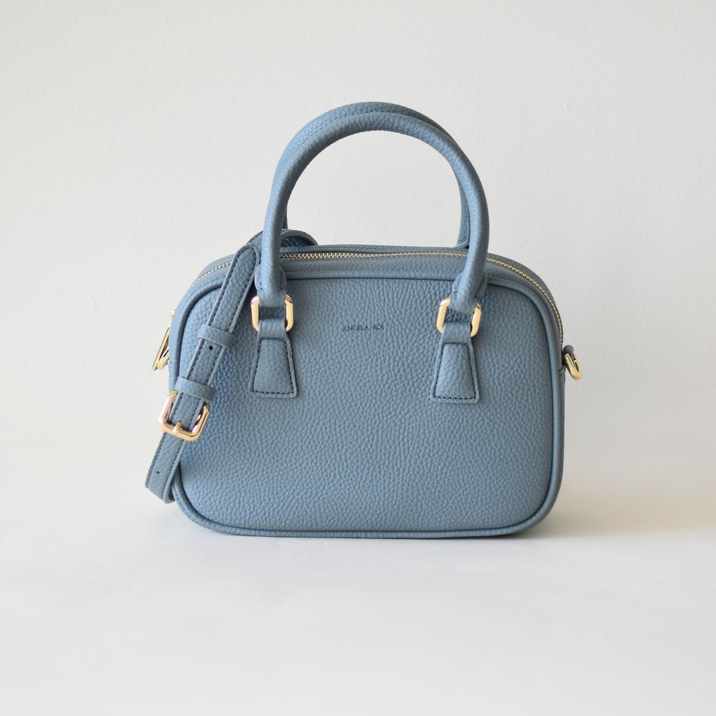 Angela Roi Vegan Barton Mini in Nude Blue, front view