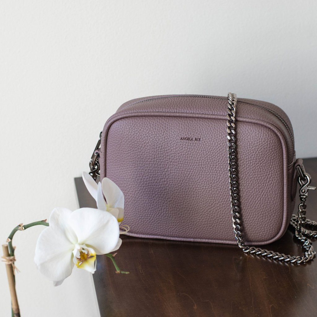 Grace Mini Cross-body in Ash Rose on table