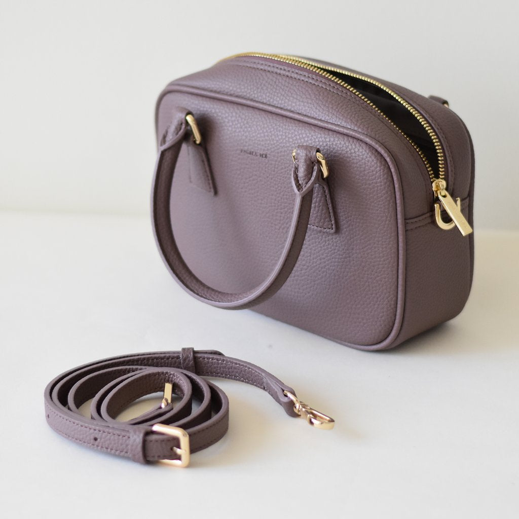 Angela Roi Vegan Barton Mini in Ash Rose, bag with strap