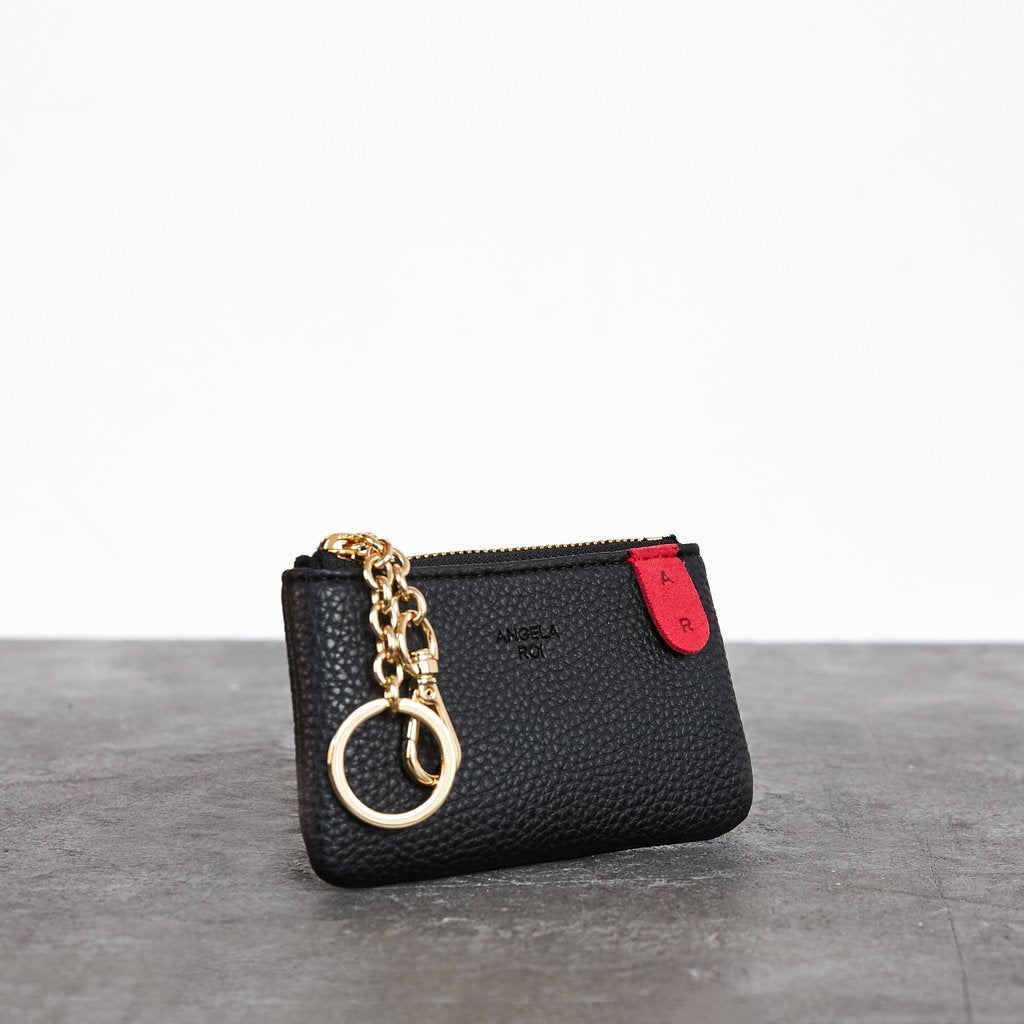 Zuri Card Pouch with Signet in Black