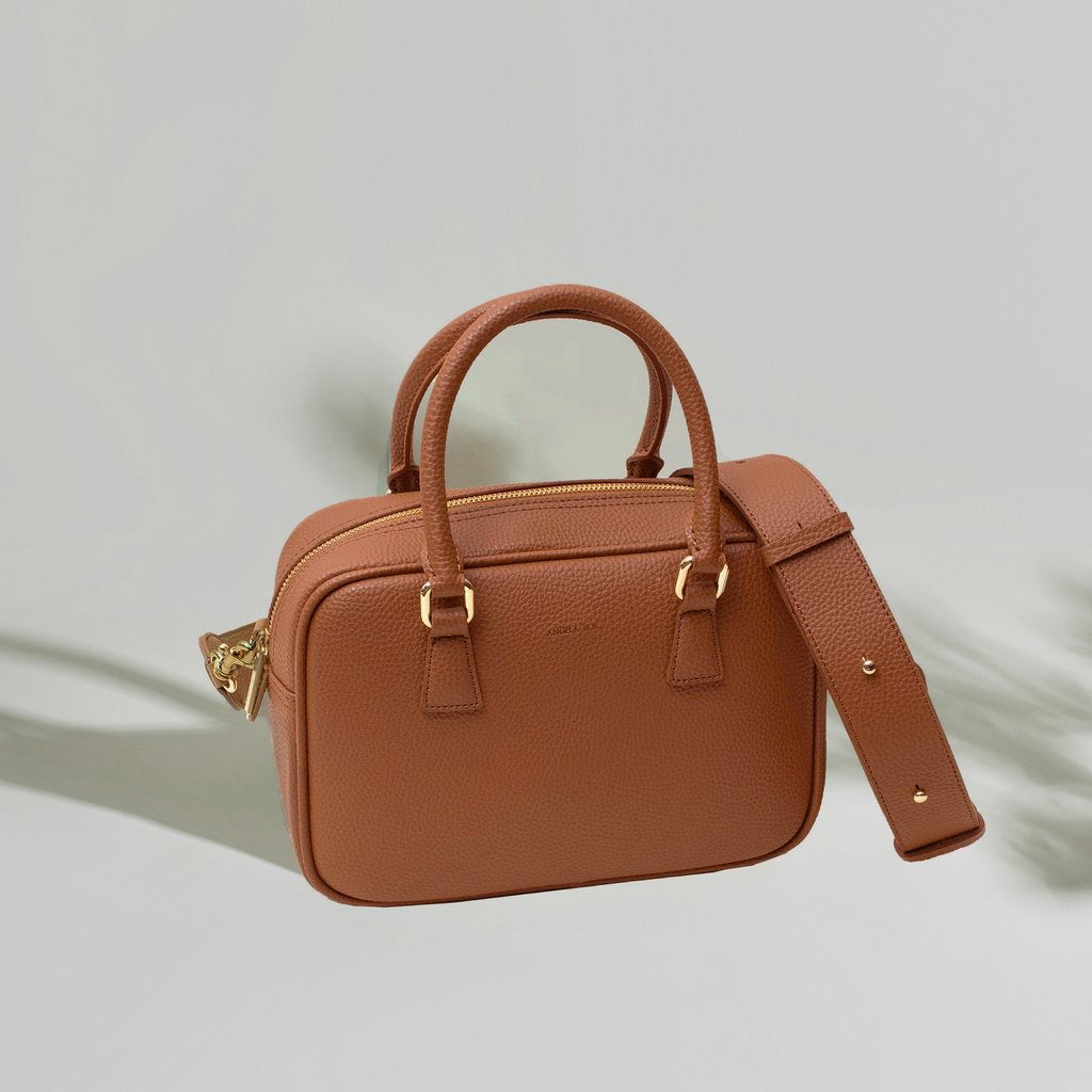 Angela Roi Barton Duffle Tote Bag in Brown, Front view with Strap