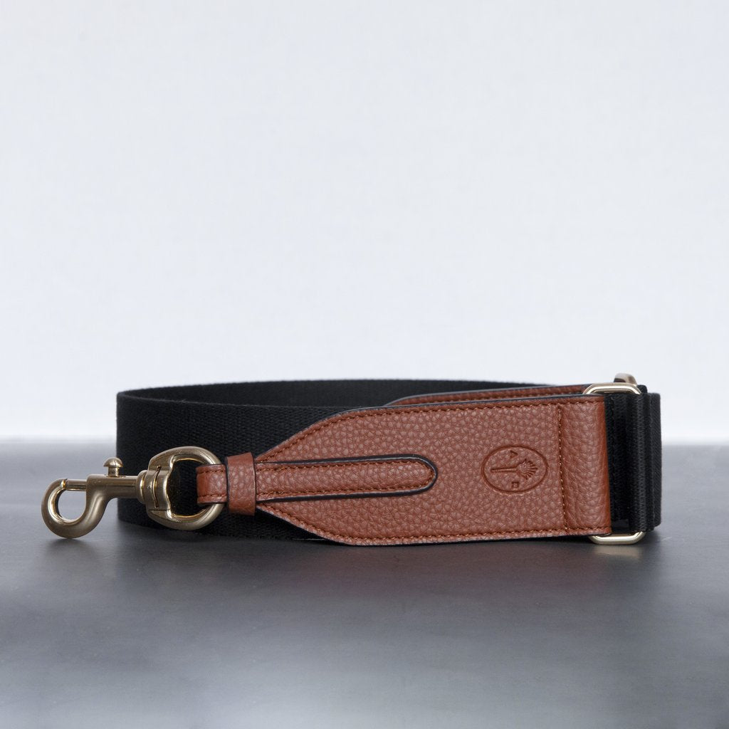 Webbing Bag Strap in Black/Brown