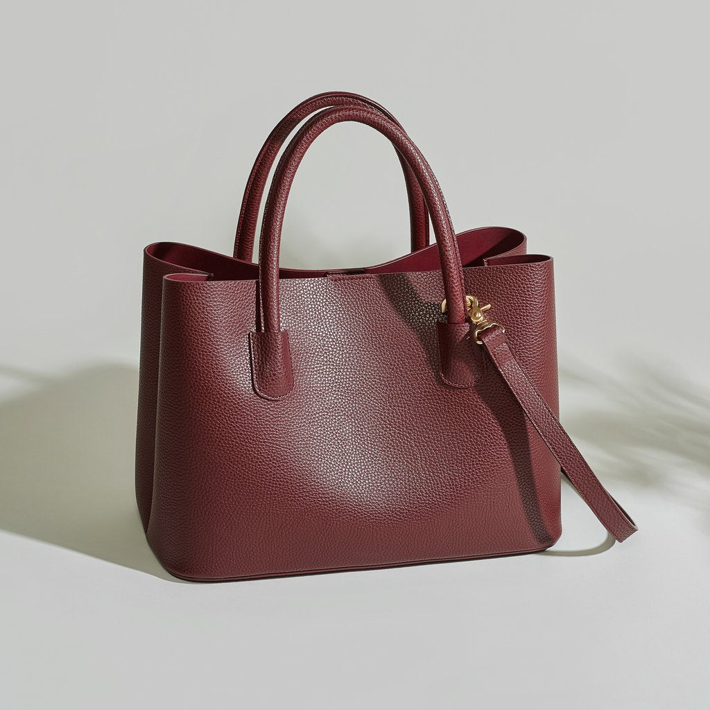 Angela Roi Vegan Cher Tote in Bordeaux, front view