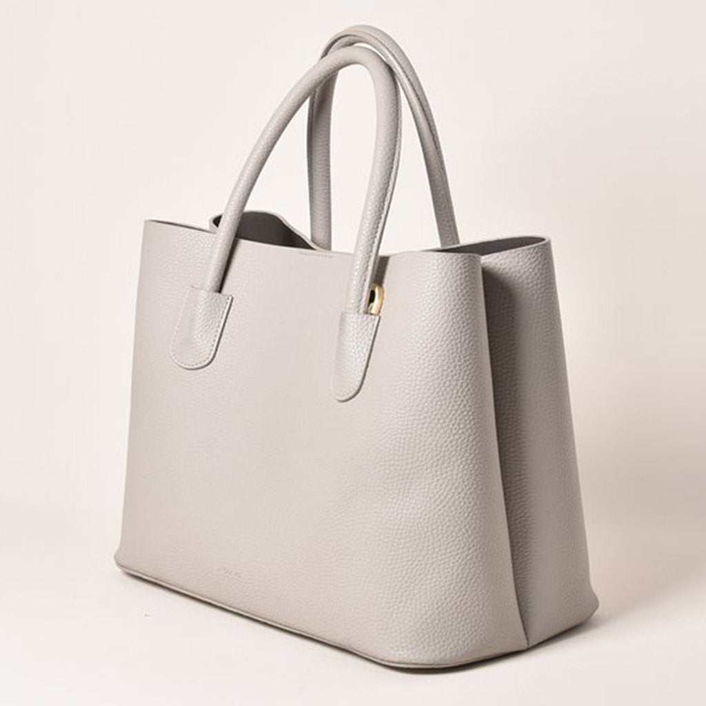 Angela Roi Vegan Cher Tote in Light Grey, 3/4 view