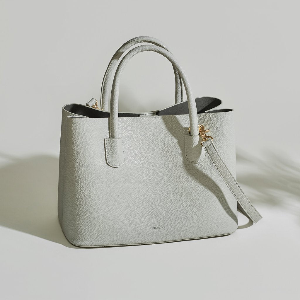 Angela Roi Vegan Cher Tote in Light Grey, front view with strap