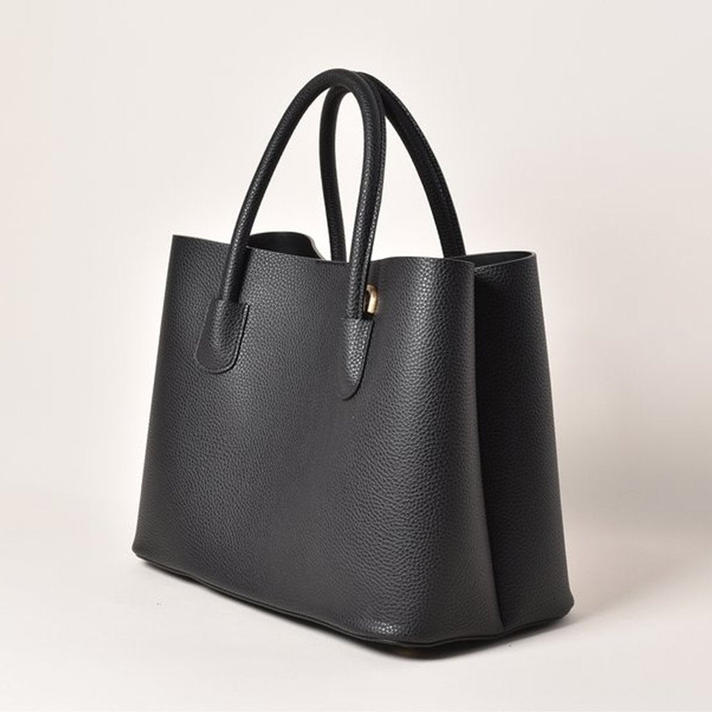Angela Roi Vegan Cher Tote in Black, 3/4 view