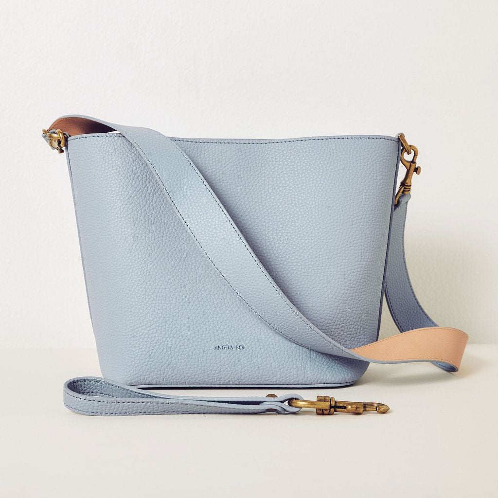 Angelou Mini Bucket in Light Nude Blue