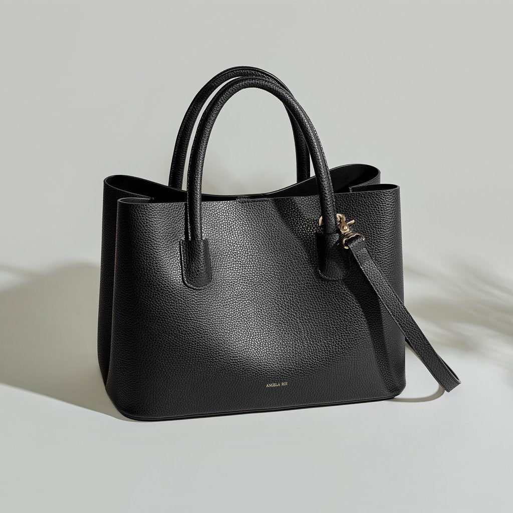 Angela Roi Vegan Cher Tote in Black, front view