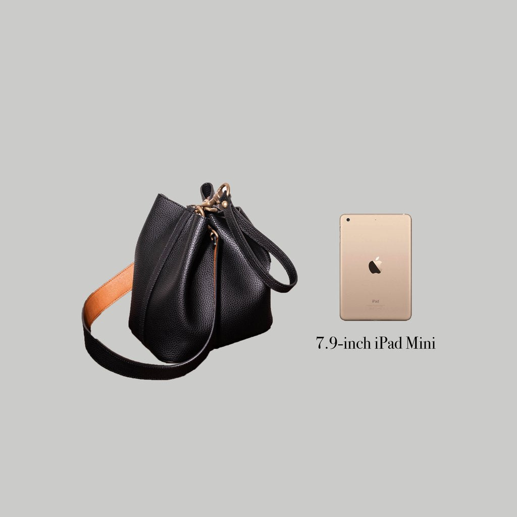 Angela Roi Vegan Angelou Mini Bucket in Ash Brown, Side view with Ipad Mini