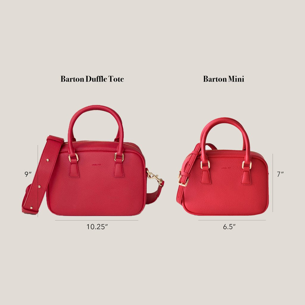 Angela Roi Vegan Barton Mini in Ash Rose, mini size comparison
