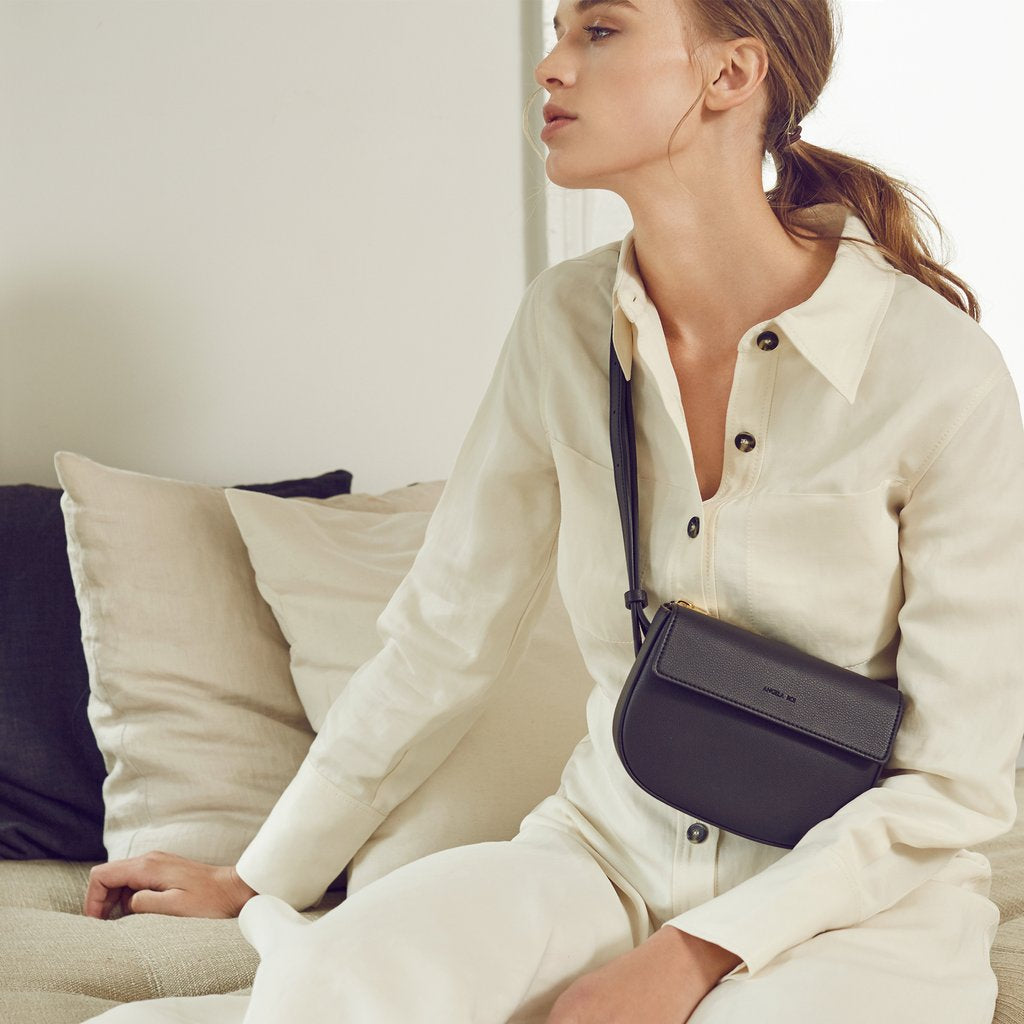 Hamilton Belt Bag / Cross-body in Black on model