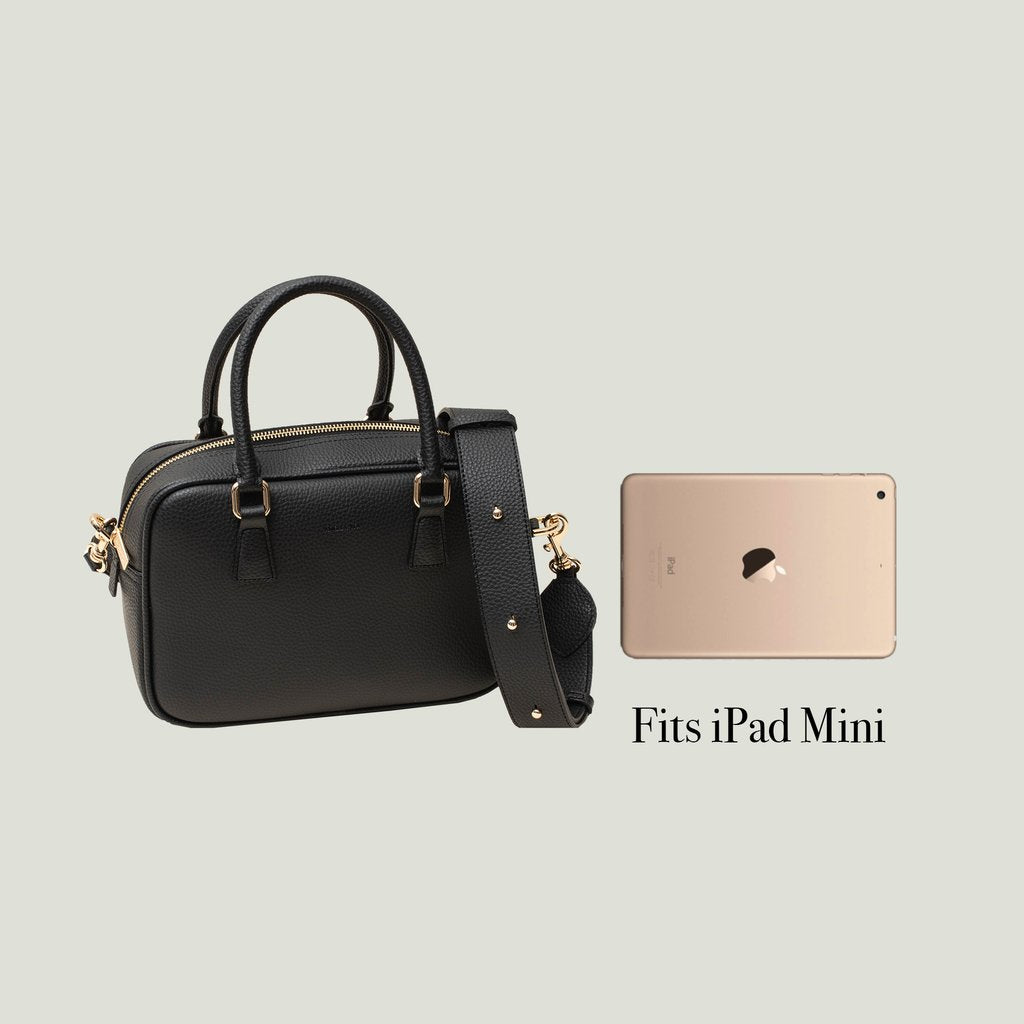 Angela Roi Barton Duffle Tote Bag in Black, side by side view with Ipad mini