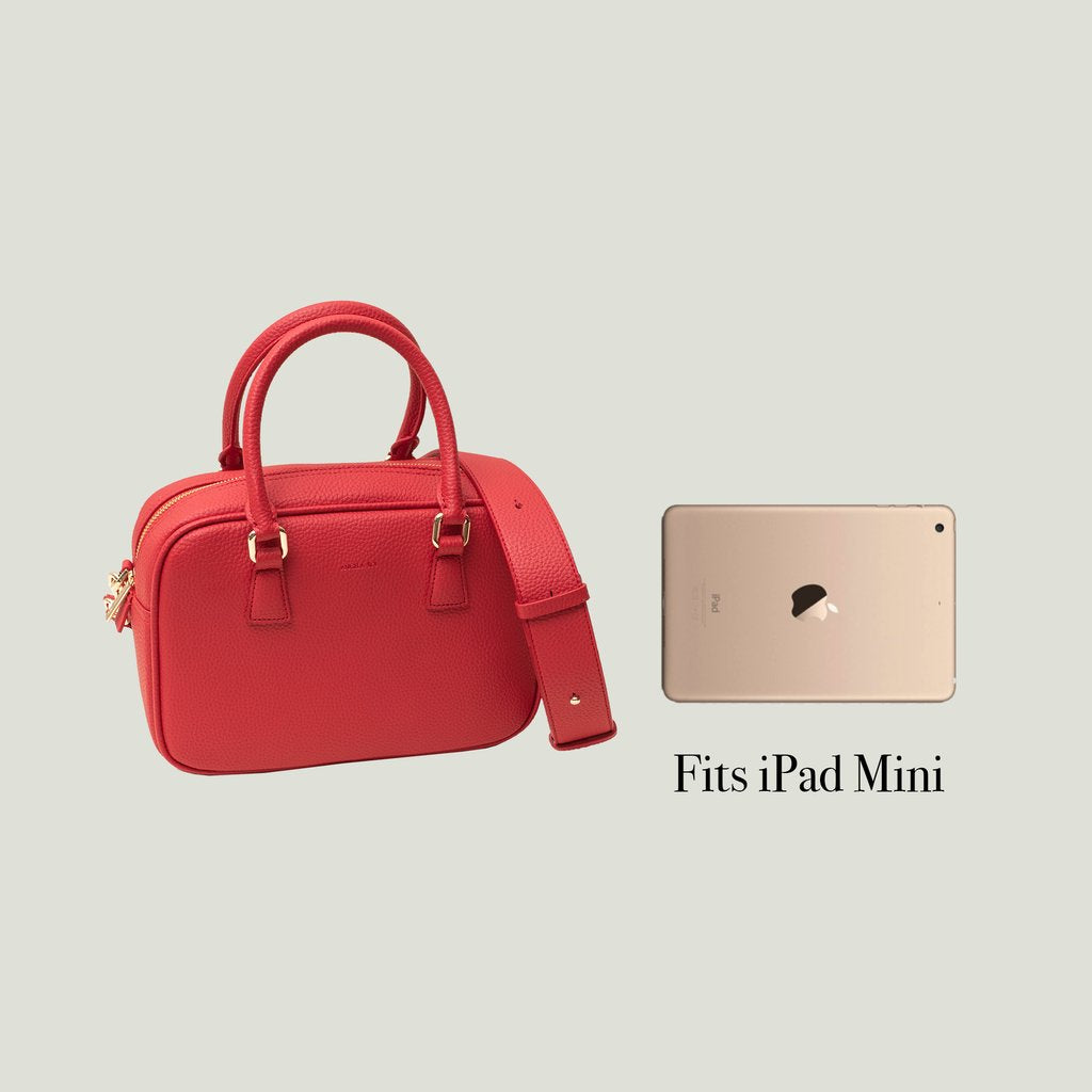 Angela Roi Vegan Barton Duffle Tote in Red, side-by-side with ipad mini