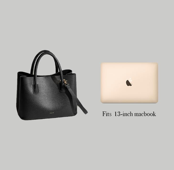 Angela Roi Vegan Cher Tote in Black, side-by-side with Macbook