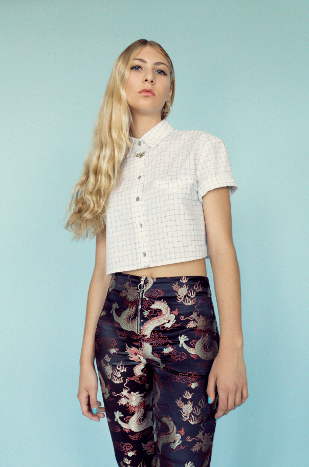 Boyfriend Button-Down Crop Top